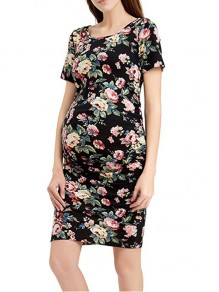 Black Floral Print Pleated Banquet Round Neck Fashion Maternity Dress