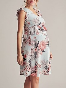 Mint Green Zipper Floral Print Peplum U-neck Sleeveless Big Swing Elegant Maternity Dress