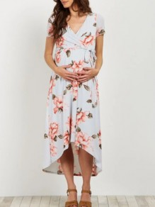 Light Blue Floral Wrap Sashes Belt High-low Big Swing Prom Evening Party Maternity Dress