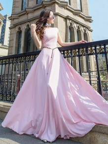 Pastel Pink Patchwork Belt Sleeveless Party Elegant Bohemian Maxi Dress