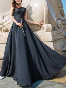 Black Patchwork Belt Big Swing Sleeveless Homecoming Party Maxi Dress
