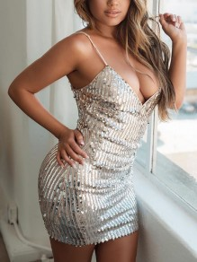 Silver Patchwork Sequin Spaghetti Strap Backless V-neck Sparkly Glitter Birthday Party Mini Dress