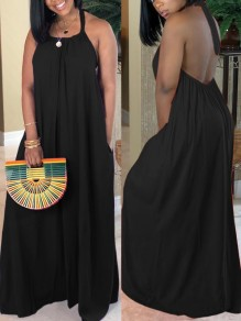 Black Halter Neck Pleated Backless Bohemian Beachwear Party Maxi Dress