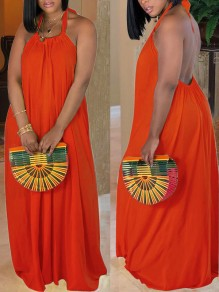 Orange Halter Neck Pleated Backless Bohemian Beachwear Party Maxi Dress