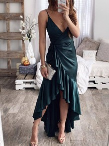 Green Condole Belt Draped Ruffle Irregular Swallowtail Sashes Backless V-neck Sleeveless Fashion Maxi Dress