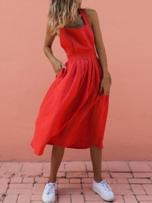 Red Bow Shoulder-Strap Buttons Backless Sleeveless Midi Dress
