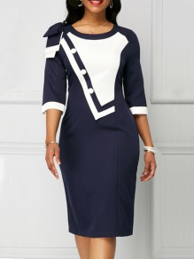 Navy Blue White Patchwork Bow Buttons Round Neck Elegant Midi Dress
