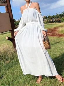 White Chiffon Tie Back Draped Pleated Three Quarter Length Sleeve Boho Beach Maxi Dress