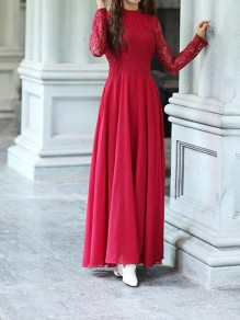 Wine Red Patchwork Chiffon Lace Draped Pleated Cut Out Round Neck Long Sleeve Elegant Maxi Dress