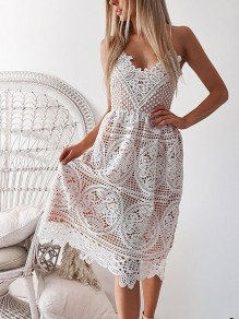 White Patchwork Lace Cut Out Drawstring Spaghetti Strap Backless V-neck Flowy Boho Maxi Dress