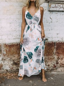 White Leaves Print Drawstring Halter Neck Deep V-neck Bohemian Maxi Dress