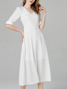 White Single Breasted Layers Of Zipper V-neck Short Sleeve Elegant Wedding Gowns Maxi Dress