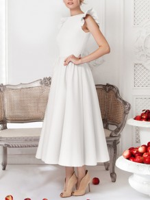 White Cascading Ruffle Sleeveless Zipper U-neck Big Swing Elegant Homecoming Party Maxi Dress