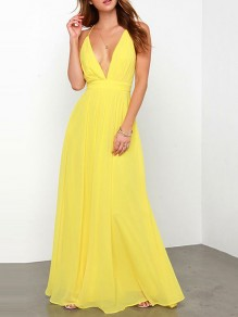 Yellow Patchwork GrenadineDeep V-neck Backless Spaghetti Strap Bohemian Beach Maxi Dress
