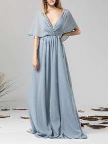 Dusty Blue Wrap V-neck Elbow Sleeve Bow Backless Chiffon Bridesmaid Maxi Dress