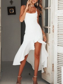 White Draped Irregular Big Swing High-Low Spaghetti Strap Scoop Neck Fashion Bridesmaid Maxi Dress