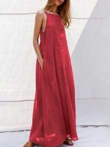 Red Pockets Draped Backless Multi Way Sleeveless Going out Maxi Dress