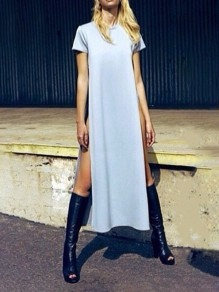 White Thigh High Side Slits Round Neck Short Sleeve Fashion Maxi Dress