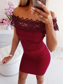 Burgundy Patchwork Lace Off Shoulder Short Sleeve Mini Dress