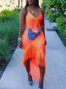 Orange Patchwork Tassel Fringe Irregular Spaghetti Strap Deep V-neck Backless Clubwear Party Maxi Dress