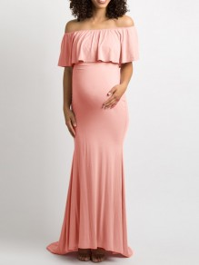 Pink Bandeau Ruffle Off Shoulder Short Sleeve Maternity Maxi Dress