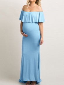Light Blue Bandeau Ruffle Off Shoulder Short Sleeve Maternity Maxi Dress