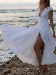 White Wrap Thigh Slit Deep V-neck Short Sleeve Bohemian Beach Wedding Flowy Maxi Dress