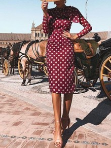 Red Chiffon Polka Dot Cut Out Backless Slit Ruffle Irregular Round Neck Long Sleeve Elegant Midi Dress