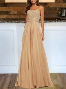 Champagne Sequin Lace-up Backless Elegant Prom Party Maxi Dress