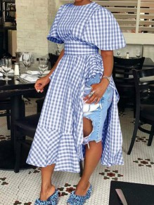 Blue-White Plaid Ruffle Irregular High Waisted Half Sleeve Plus Size Casual Maxi Dress
