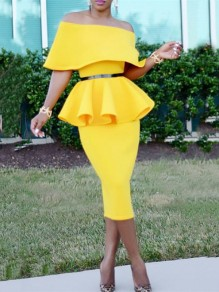 Yellow Ruffle Off Shoulder Bodycon Peplum Two Piece Elegant Prom Evening Part Maxi Dress