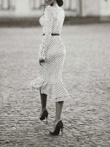White Polka Dot Pattern Square Neck Long Sleeve Elegant Mermaid Maxi Dress