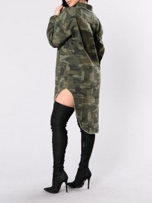 Army Green Camouflage Buttons Long Sleeve High-Low Midi Dress