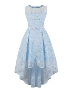 Light Blue Lace Sashes Draped Cut Out Swallowtail Irregular Round Neck Sleeveless Elegant Midi Dress