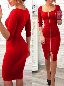 Burgundy Zipper Square Neck 3/4 Sleeve Bodycon Elegant Midi Dress