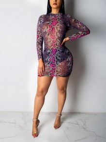 Red Snake Print Grenadine Long Sleeve Sheer Hip Bodycon Clubwear Party Mini Dress