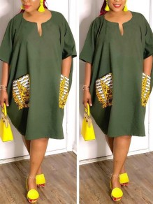 Army Green Pockets Short Sleeve Casual Midi Dress