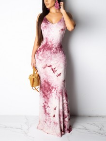 Purple Tie Dyeing Spaghetti Strap Backless Bodycon Mermaid Bohemian Party Maxi Dress