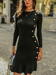Black Studded Cascading Ruffle Round Neck Long Sleeve Fashion Midi Dress