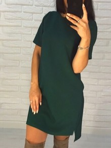 Green Elegant Round Neck Short Sleeve High-Low Plus Size Homecoming Party Mini Dress