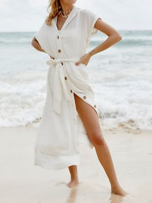 White Single Breasted Turndown Collar V-neck Short Sleeve Beach Cover Up Maxi Dress