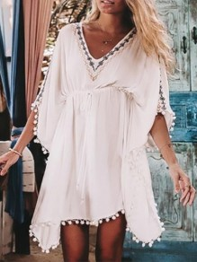 White Patchwork Irregular Embroidery V-neck Short Sleeve Beach Cover Up Mini Dress