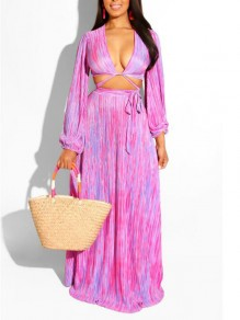Pink Striped Sashes Deep V-neck Two Piece Flowy Bohemian Maxi Dress