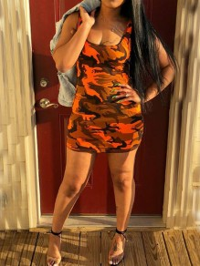 Mini robe à encolure carrée sans manches bodycon clubwear orange camouflage