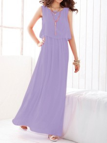 Light Purple Draped Chiffon Round Neck Sleeveless Elegant Maxi Dress
