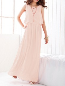 Pink Draped Chiffon Round Neck Sleeveless Elegant Maxi Dress