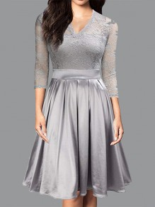 Grey Patchwork Lace Pleated V-neck 3/4 Sleeve Elegant Party Midi Dress