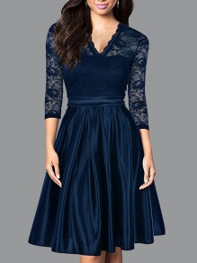 Navy Blue Patchwork Lace Pleated V-neck 3/4 Sleeve Elegant Party Midi Dress