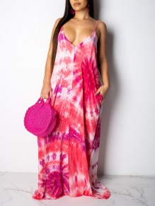 Pink Gradient Spaghetti Strap Pockets Pleated V-neck Beachwear Party Maxi Dress
