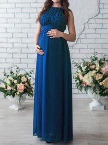 Sapphire Blue Draped Sashes Chiffon Round Neck Sleeveless Elegant Maternity Dress
